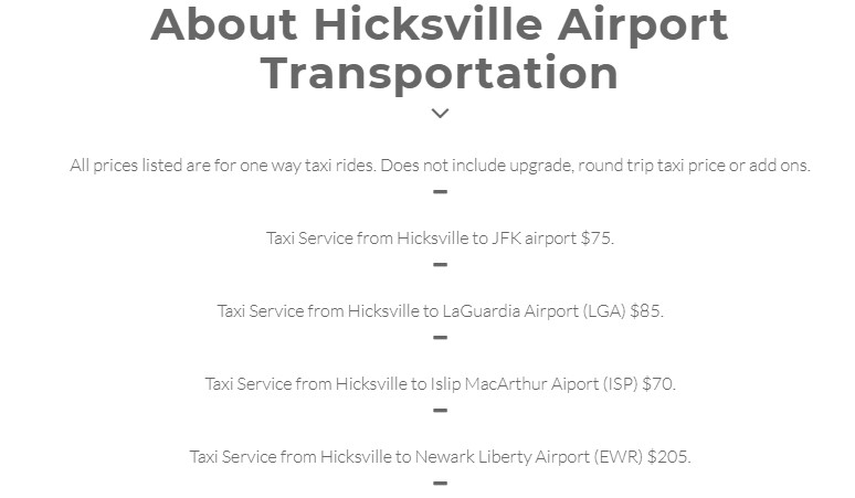 Hicksville Taxi And Airport Service